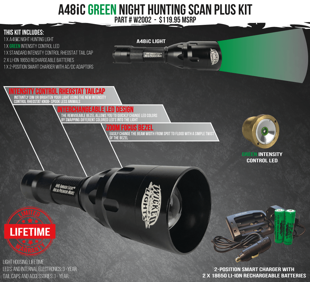Wicked Lights A48iC Green Scan Plus Night Hunting Light Kit