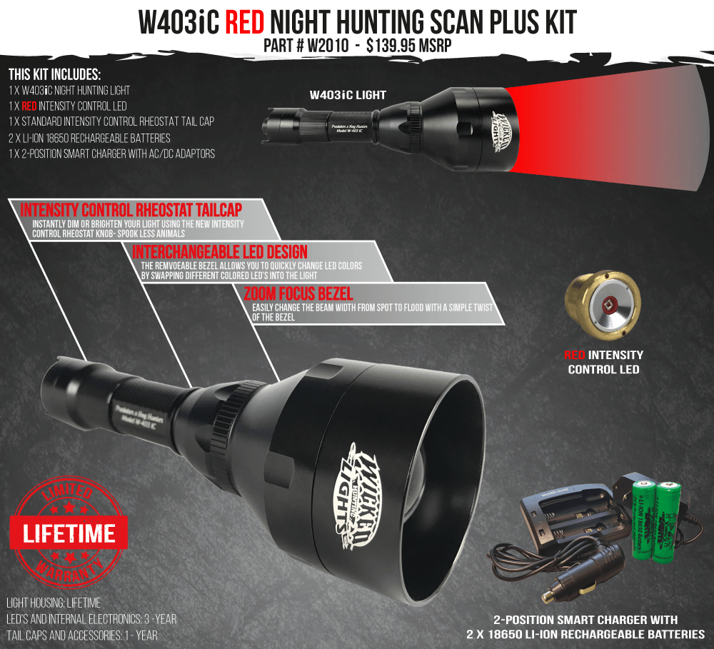 Wicked Lights W403iC Red Scan Plus Night Hunting Light Kit